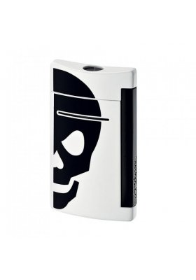 accendino dupont minijet white with black skull