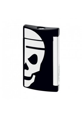 accendino dupont minijet black with white skull