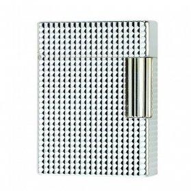 Accendino Dupont Linea 1 Placcato argento e punta di diamante piccolo